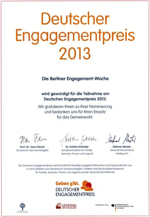 Teilnahmeurkunde Deutscher Engagementpreis